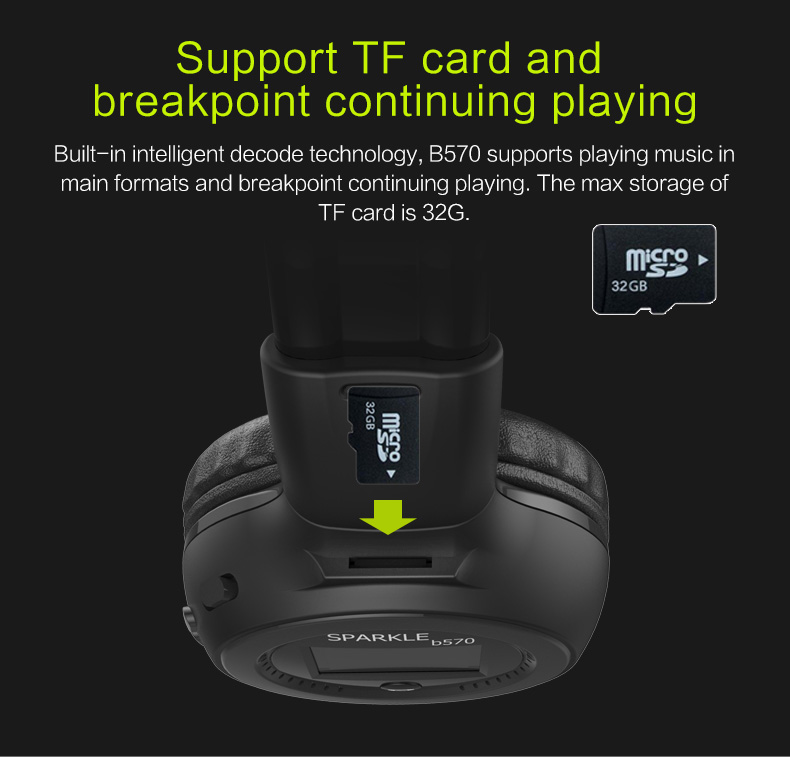 Zealot B570 Earphone Headphone with LCD Screen Bluetooth Headphone Foldable Hifi Stereo Wireless Headset FM Radio TF SD Slot 13
