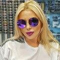 Rodada Brilhante Colorido Sem Aro Mulheres Óculos De Sol Da Marca Do Vintage 2017 Moda Eyewear UV400 Óculos de Espelhos HD Lente Oculos Gafas de sol