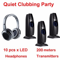 Silent Disco complete system black led wireless headphones - Quiet Clubbing Party Bundle (10 Headphones + 3 Transmitters)