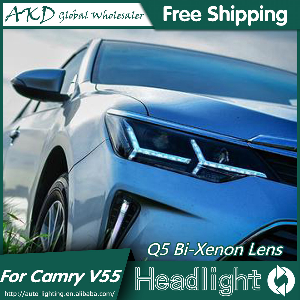 AKD Car Styling for Toyota Camry V55 Headlights 2015 New Camry LED Headlight DRL Bi Xenon Lens High Low Beam Parking Fog Lamp akd car styling for nissan teana led headlights 2008 2012 altima led headlight led drl bi xenon lens high low beam parking