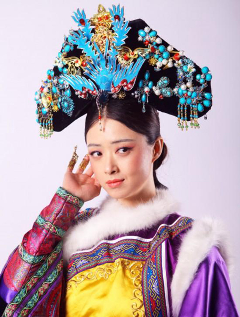 Himstory Qing Dynasty Princess Blue Phoenix Hair Tiara Chiense National Legend of Zhenhuan QiTou Costume Princess Hair Accessory in Hair Jewelry from Jewelry Accessories