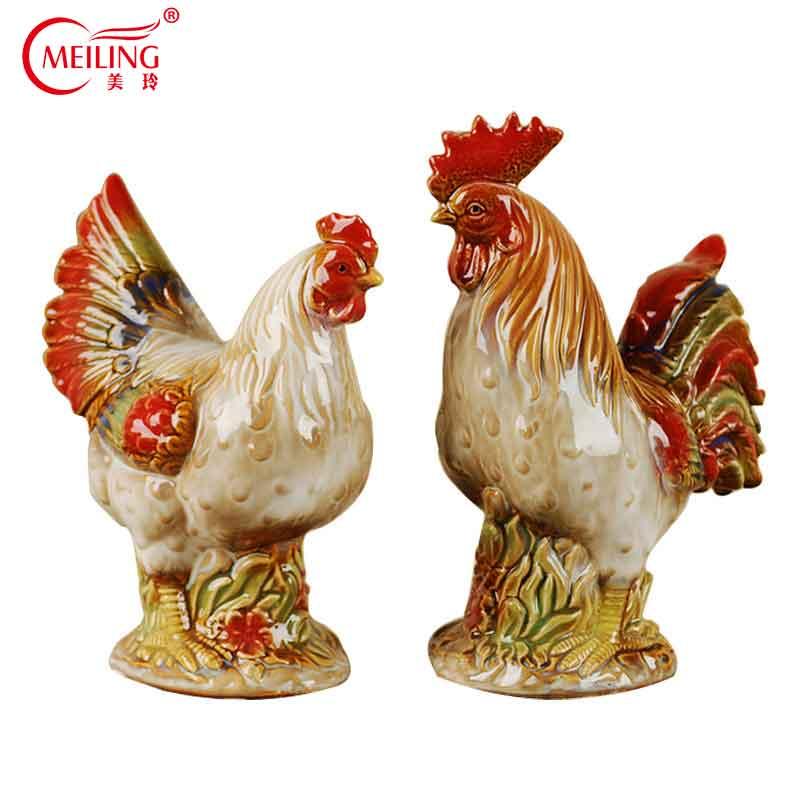 Vintage Colorido 2 pcs Frango Galo de Cerâmica Figurinhas Colecionáveis Estátuas de Animais de Idéias Do Presente Artesanal Obra de arte Para A Decoração Da Casa