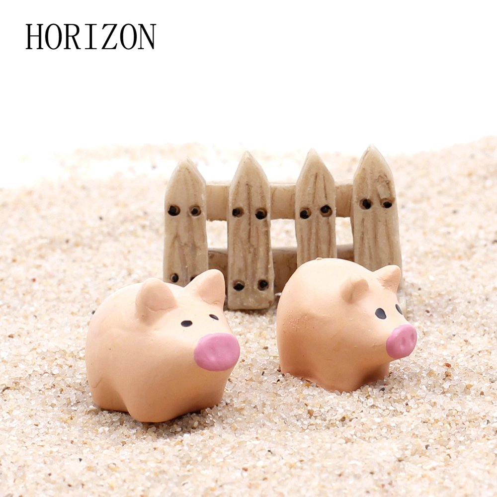 Hot 3pcs Set Artificial Miniature Cute Pig Resin Craft Bonsai Landscape Ornaments Accessories Home Garden