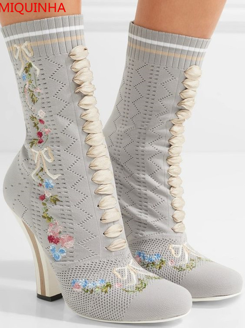 Flower Embroidered Stretch-Knit Ankle Boots Round Toe Slip On Manmade Fashion Spikes Heels Spring/Autumn Women Boot Shoes Woman slip on winter boots stretch lycra