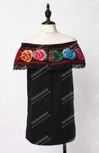 New 2014 summer women girl off the shoulder slash neck vintage rose embroidery blouse black cotton