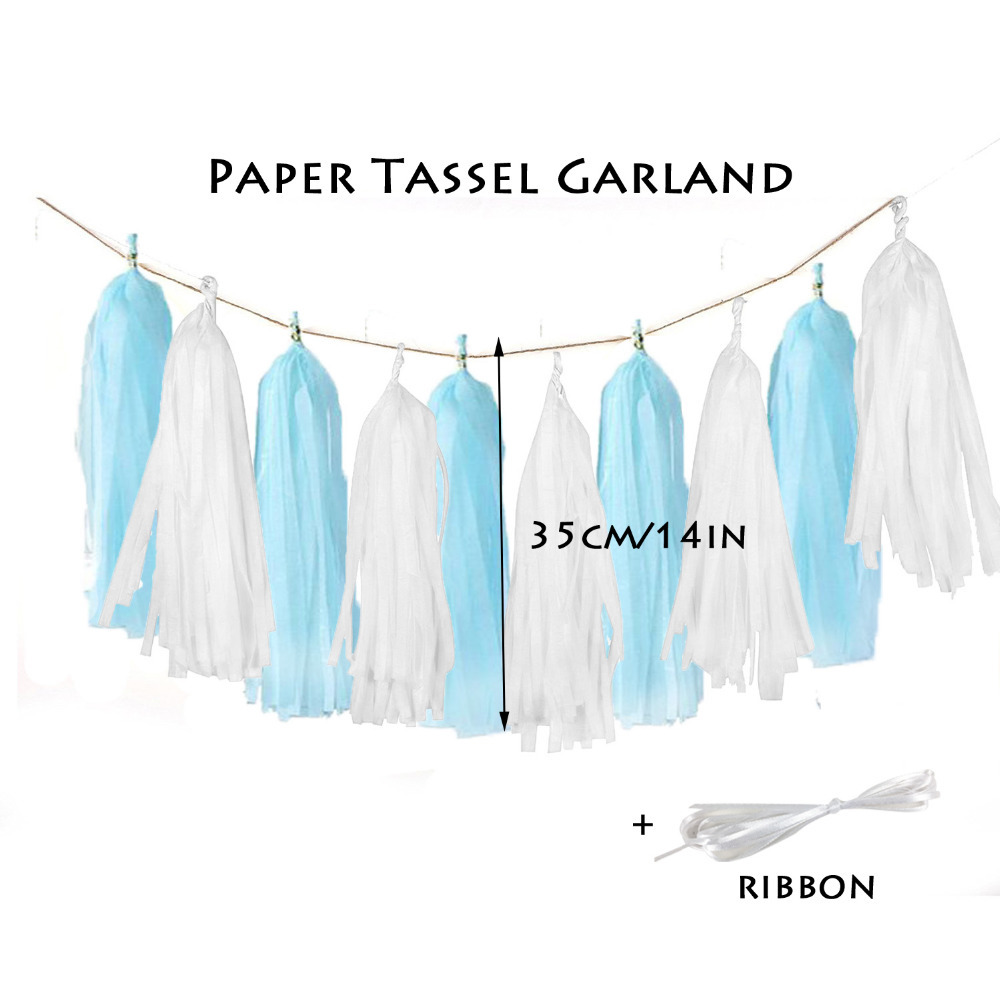 9pcs Blue Pink Hanging Paper Decoration Kit Paper Fan Rosettes Tassel Garland Banner Birthday for Boy Girl First Birthday Party in Party DIY Decorations from Home Garden