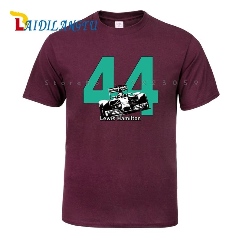 Lewis Hamilton 44 F1 Race Car   T  -  Shirt   World Champion Formula 1 Brit Silverstone Men Cotton   T     Shirt   Top Tees