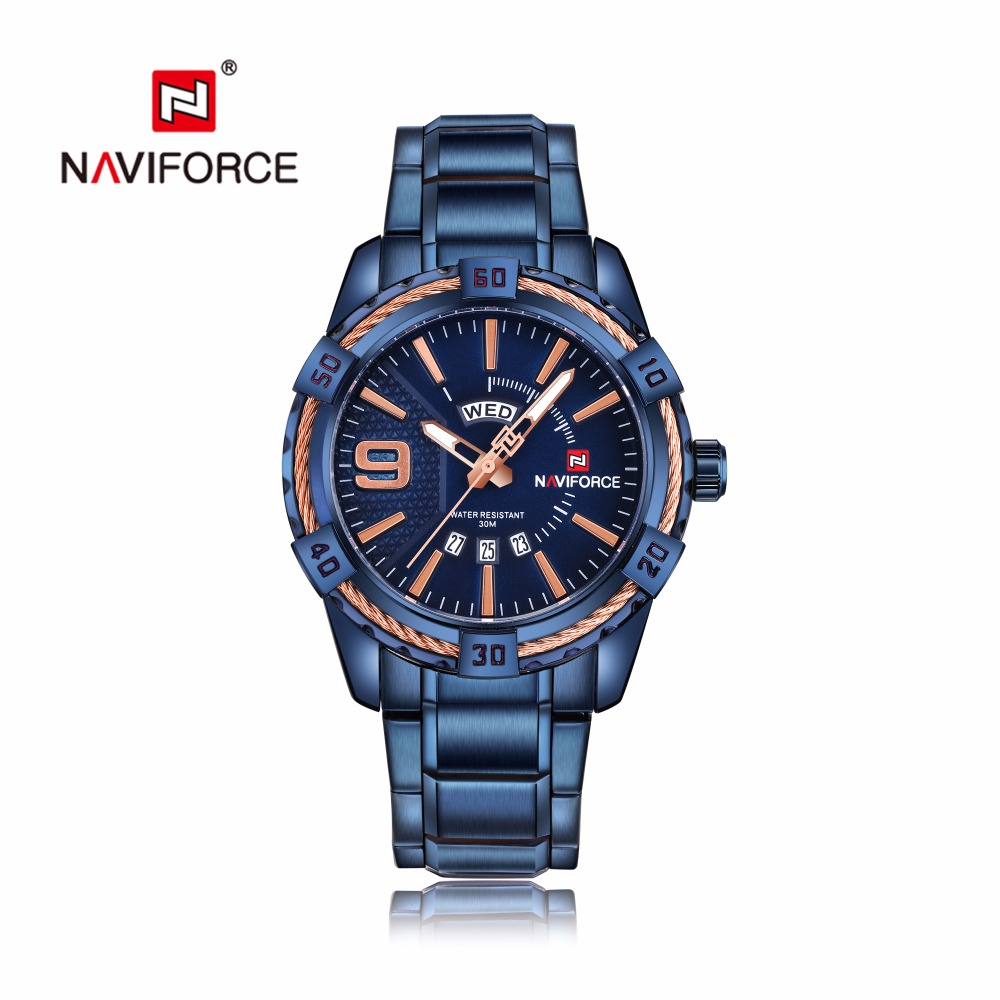 NAVIFORCE Business Men Quartz Watches Men Quartz Fashion Casual Watch Blue Full Stainless Steel Auto Date Week Wristwatches 9117 fashion business men