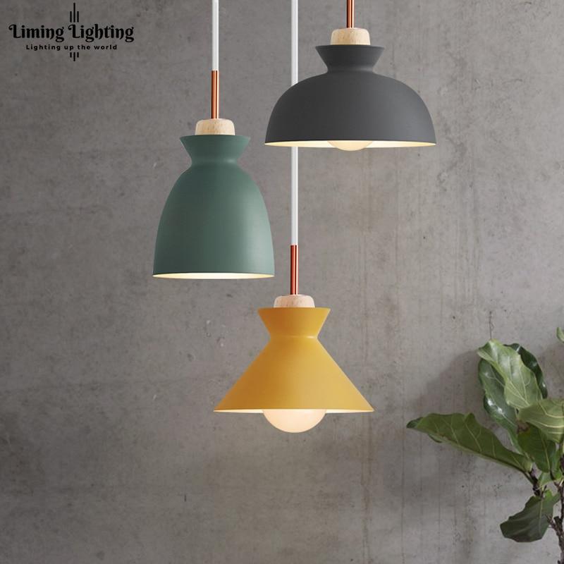 цена на Colorful Modern Wood Pendant Lights Lamparas Minimalist design shade Luminaire Dining Room Lights Pendant Lamp