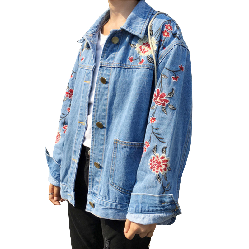2017 embroidery oversized srping jean jacket big size. Black Bedroom Furniture Sets. Home Design Ideas