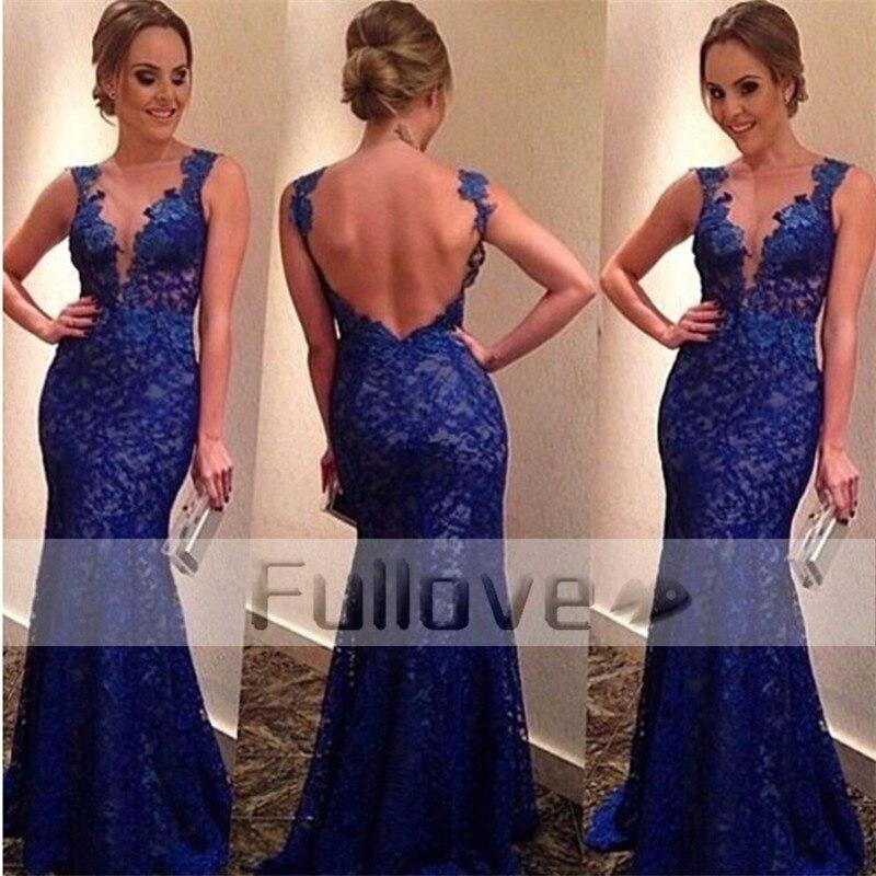 Glamorous Royal Blue Mermaid   Evening     Dress   Long 2019 V-Neck Backless Lace Formal   Evening     Dresses   Party Gowns Vestidos De Fiesta