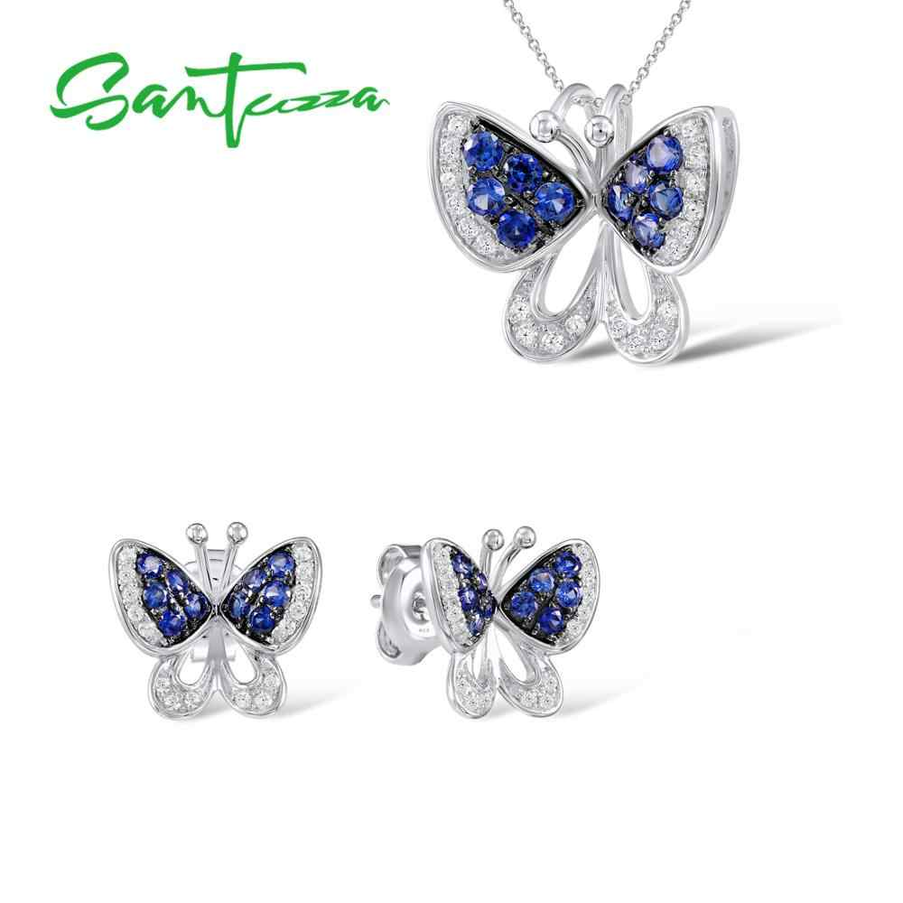 Jewelry Sets for Women Butterfly Blue Nano CZ Stones Jewelry Set Stud Earrings Pendant Necklace 925 Sterling Silver Jewelry Set