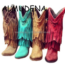 Cowboy Mid-calf Motorcycle Boots Gladiator Autumn Winter Fringed Leather Low Heels Short Boots Slip-on Tassel Woman Casual Shoes цены онлайн