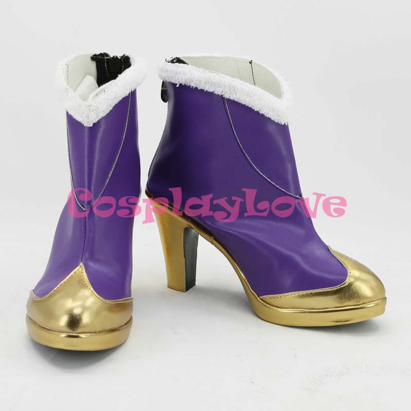 Game Cosplay High Heels Leather Shoes Costume Boots Custom Made Purple