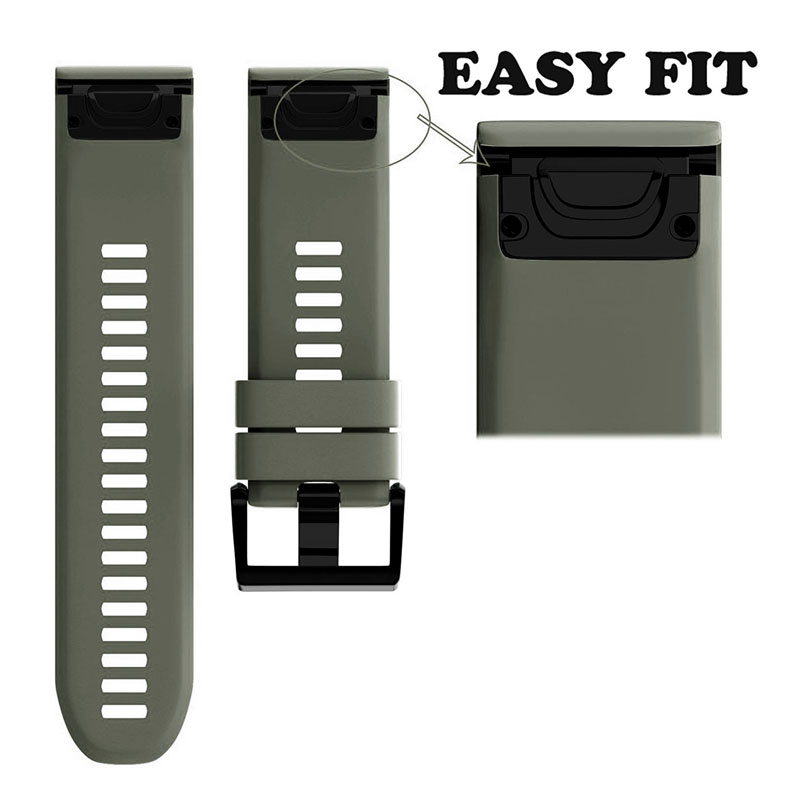 26mm Width Outdoor Sport Watch Band Easy Fit Silicone Strap Watchband For Garmin Band Silicone Band