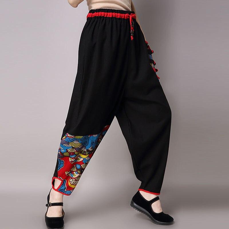 Elastic Waist New 2019 Sprin Women Cotton Linen   Pants   Casual Loose Floral Print   Wide     Leg     Pants   Pantalon Femme Y100