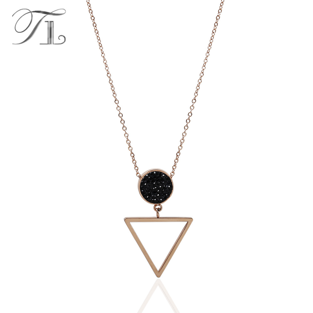 TL Star Light Necklaces Round Pendant Inlaid Solid Black Zircon Hanging Rose Gold Hollow Inverted Triangle Necklaces For Women