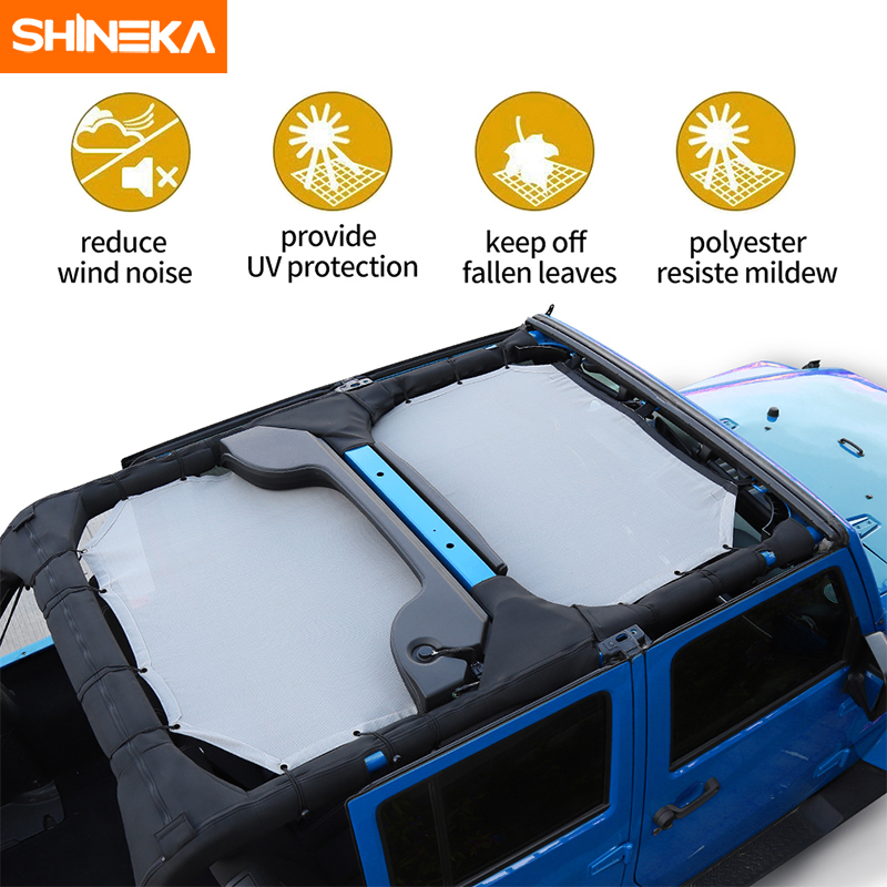 Image 2 - SHINEKA Top Sunshade Mesh Car Cover Roof UV Proof Protection Net for Jeep Wrangler JK 2 Door and 4 Door Car Accessories Styling-in Sunroof, Convertible & Hardtop from Automobiles & Motorcycles