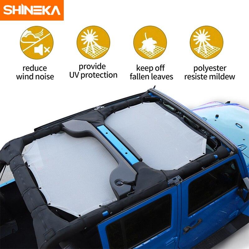 SHINEKA Top parasol maille bâche de voiture toit résistant aux UV filet de Protection pour Jeep Wrangler JK 2 portes et 4 portes accessoires de voiture style - 2
