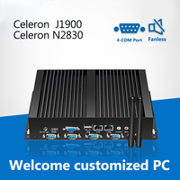 Безвентиляторный мини компьютер Celeron J1900 Dual LAN 4 * COM мини PC Celeron N2830 промышленный компьютер Windows 7 Linux Ubuntu 6 * USB HDMI