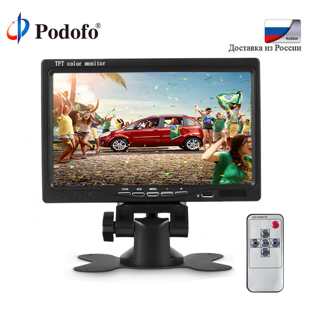 Podofo 7 TFT Color LCD Headrest Car Parking Rear View Reverse Monitor With 2 Video Input 2 AV In For DVD VCD Reversing Camera podofo 5 inch car monitor tft lcd color screen 2 video inputs 2 brackets for rear view backup reverse camera dvd car styling
