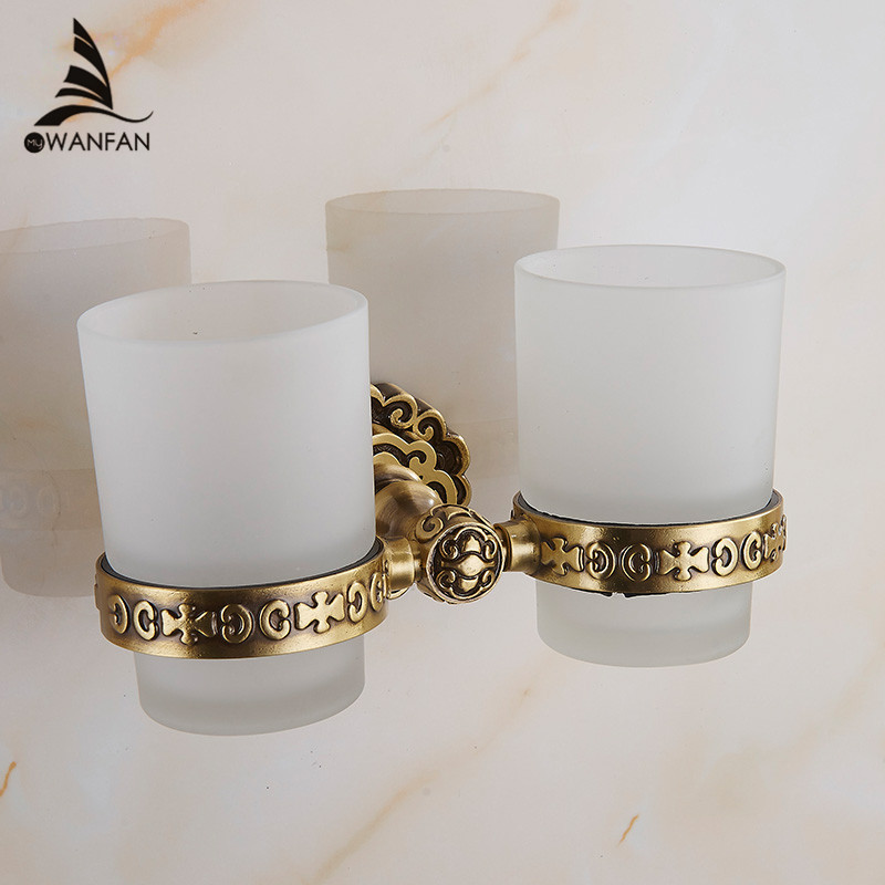 Cup & Tumbler Holders Glass Cup Brass Antique Toothbrush Cup Holder Set Luxury Bathroom Accessories Wall Tumbler Holders 10703F luxury golden brass three cup holder luxury style golden copper toothbrush double tumbler 3pcs cup holder wall bath cup rack