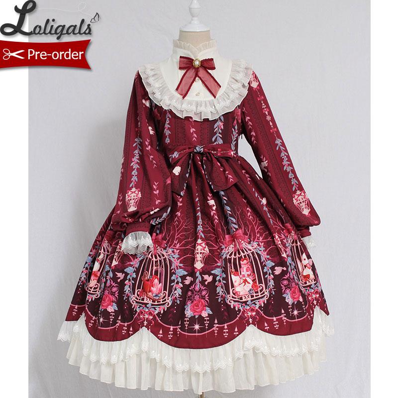 Tenue Manches Par Beige bourgogne Vintage Cage Imprimé Robe noir rose Lolita Alice À Rêve bleu Doux Fille De ~ En commande Fête Midi Longues Pré nRXRqZ7
