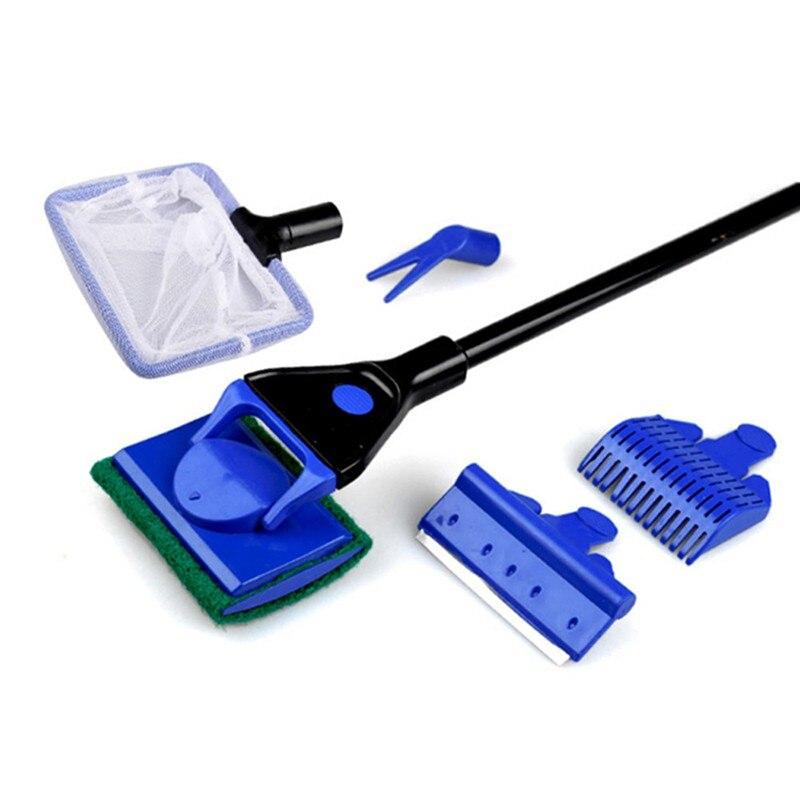 5 En 1 acuario tanque limpio set Fish grava Rastrillos algas Rascadores Tenedores Cepillos vidrio azul Utensilios de limpieza