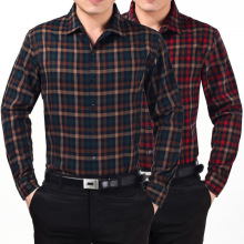 Brand Clothing 2016 New font b Men b font Thickening Imitation Wool Plaid font b Shirt