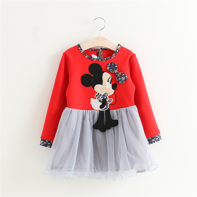 Children Autumn Dress Casual Korean style long sleeve dress Lovely Mouse Print Floral clothes toddler Princess dress