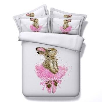 Juego de cama de conejo de ballet, edredón con estampado de animales en 3d, sábanas, colcha doble, tamaño queen, cal extragrande, decoración del hogar para niños
