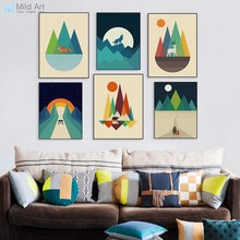 Abstract Colorful Geometric Mountain Forest Animal Deer Wolf Posters Nordic Wall Art Picture Home Decor Canvas Painting No Frame(China)