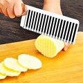 Mango de madera corrugado de Patata Trituradoras máquinas de cortar de estilo Francés onda cuchillo Cortador de La Arruga de la Cera Vegetal Jabón Cortador Ondulado