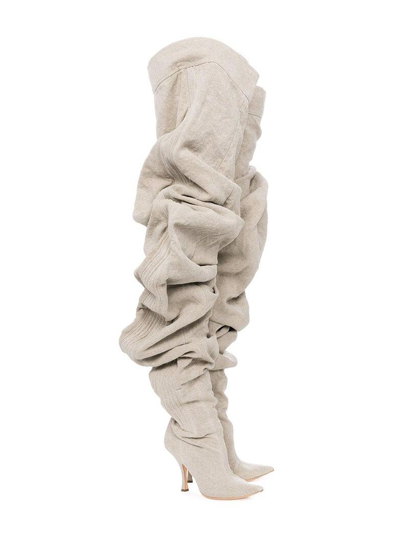 Dipsloot/Новое поступление; женские модные плиссированные туфли на высоком каблуке; обувь для подиума; женские ботфорты с острым носком; обувь на молнии для девочек