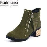 KARINLUNA 2017 Large Size 34 43 Square Heels Women Shoes Woman Bottine Leisure Ankle Boots Black