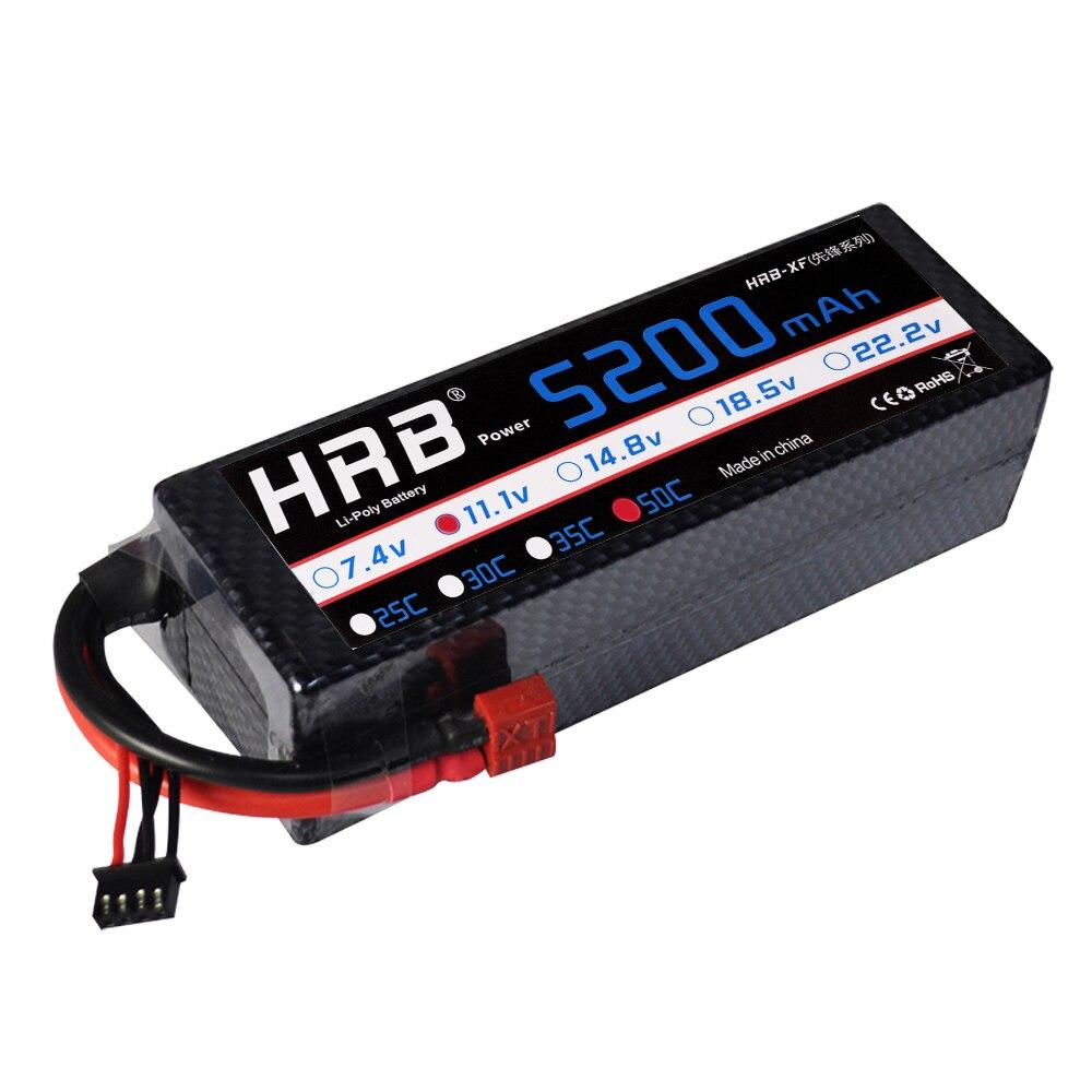 HRB Lipo 3S batterie 11.1V 5200mAh 50C MAX 100C étui rigide grande cellule pour voiture RC quadrirotor hélicoptère camion modèle Buggy 3 cellules