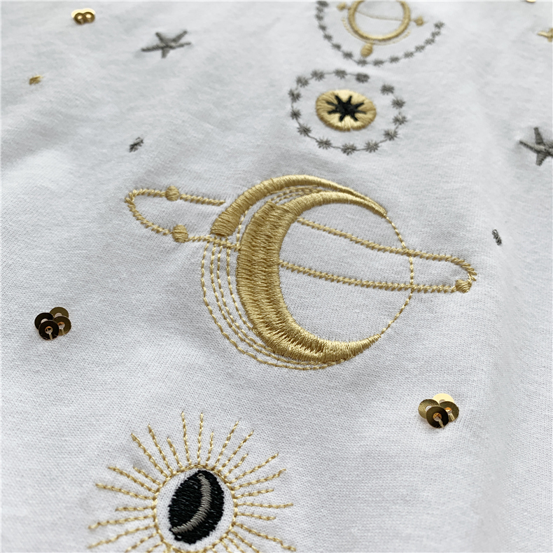 Fashion star embroidery Tee Shirt Femme korean Kawaii T Shirt Women Funny Short Sleeve T-Shirts harajuku white Black Tops Female 14