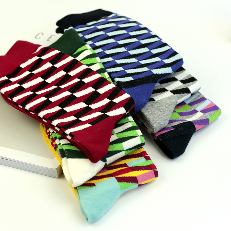 PEONFLY happy funny novelty colorful men cotton Long tube mens Socks winter Autumn 6PAIRS/LOT
