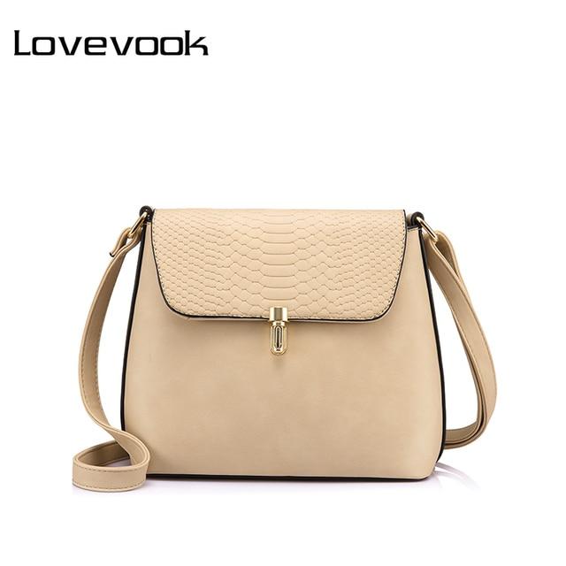LOVEVOOK marca crossbody sacos para as mulheres saco de ombro pequena fêmea ferrolho sólidos bolsa bolsa Preto/Apricot/Azul saco do mensageiro saco 2018