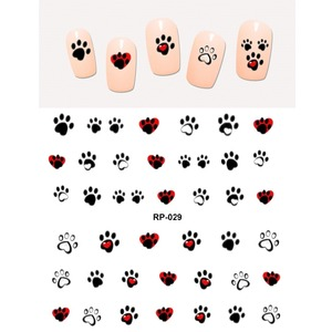 Image 5 - NAIL ART BEAUTY WATER DECAL SLIDER NAIL STICKER ANIMAL PET CLAW PAW FOOT PRINT SWEET HEART BLACK CAT RP025 030