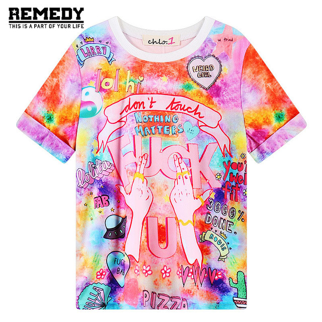 2017 Women'S T Shirts Harajuku Fuck Gradient Soft Doodle Short T-Shirt Tshirt Women Girl Tops Cute Cartoon Unicorn Pegasus