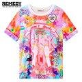 2017 camisas de t das mulheres harajuku foda gradiente rabisco macio curto t-shirt tshirt da menina das mulheres tops bonito dos desenhos animados do unicórnio pegasus