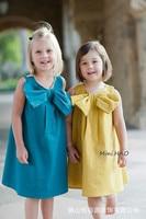2016 del verano del estilo colorido de la manera caliente lindo niños niñas chaleco vestidos del bebé arco de las muchachas vestidos de princesa sin mangas