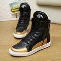 Otoño Nuevo Diseño de Moda de Los Hombres en forma de bota Zapatos Casuales Lengua Larga Cremallera Lateral con cordones en blanco y Negro zapatos de Los Hombres Zapatos Cómodos Planos