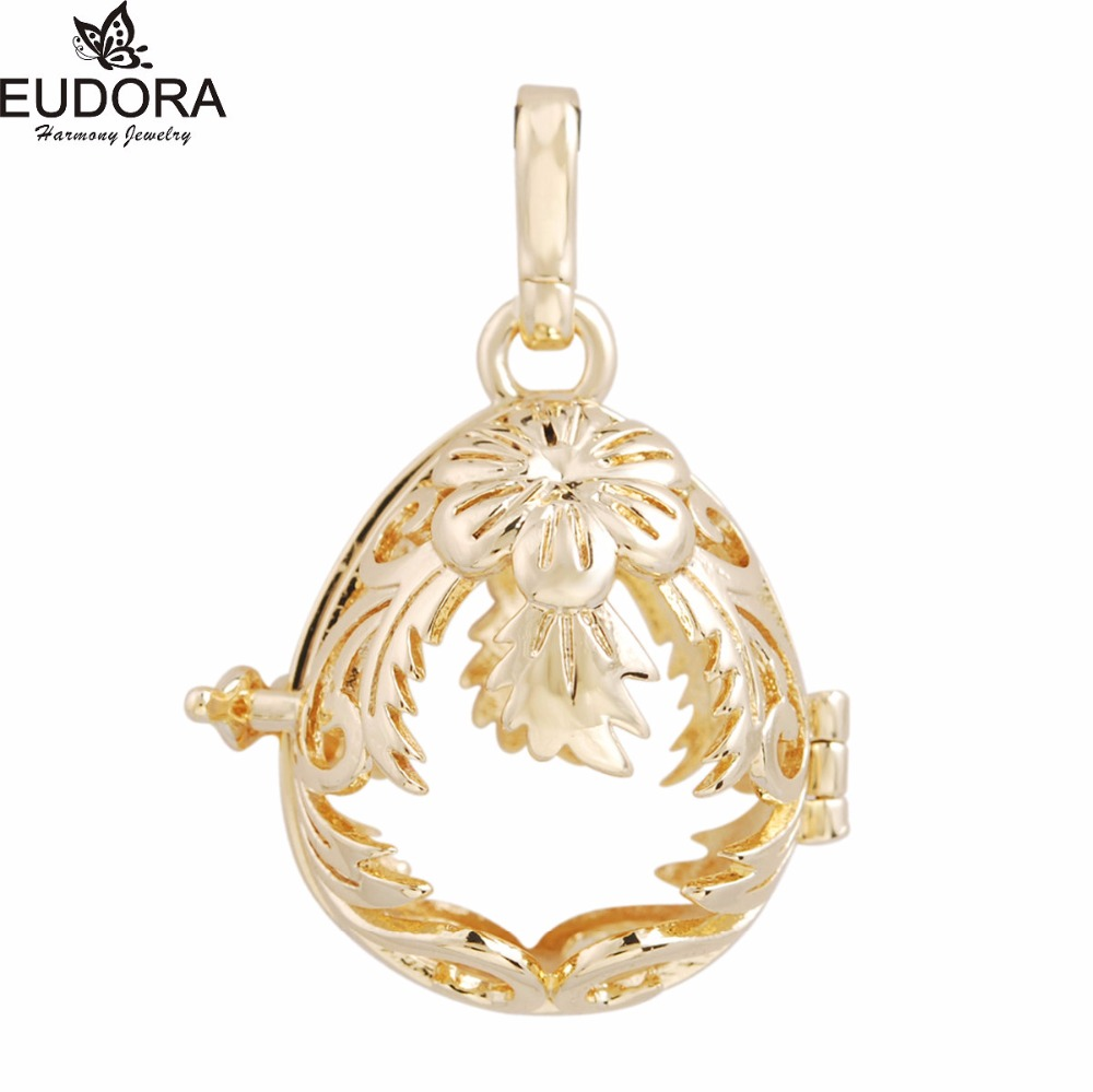 5H091 5PCS/lot Wholesales Gold-Color Locket Cage Pendant fit 20mm Harmony Bola for Pregnant Women Best Gift
