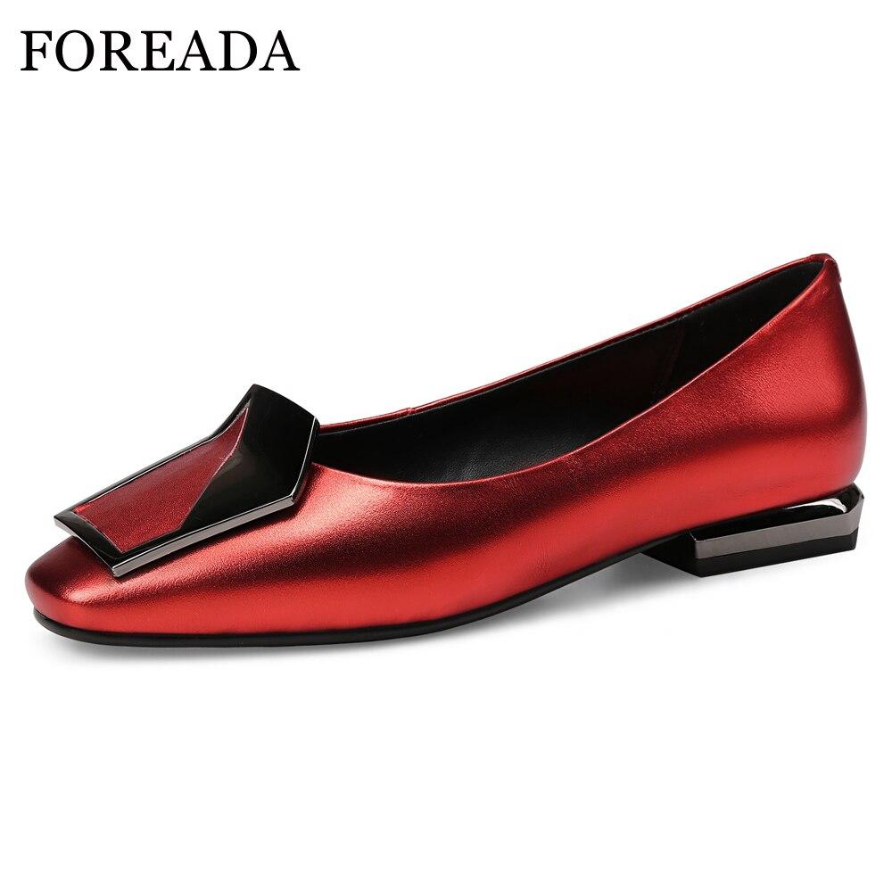 FOREADA/лоферы; Женские балетки из натуральной кожи на плоской подошве; Водонепроницаемые мокасины из натуральной кожи с квадратным носком на