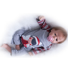 "Handmade Realistic Reborn Dolls 22"" Boy Toy Lifelike Baby Dolls Wear Clothes Reborn Silicone Soft bebe For children Xmas Gifts"