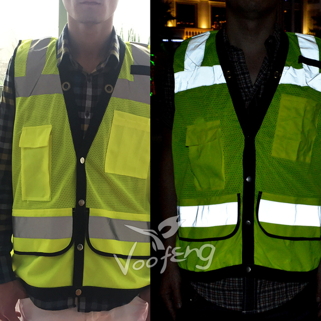 High Vis Reflective Vest with Reflective Polyester Fabric and Multi-functional Pocket  Free shipping