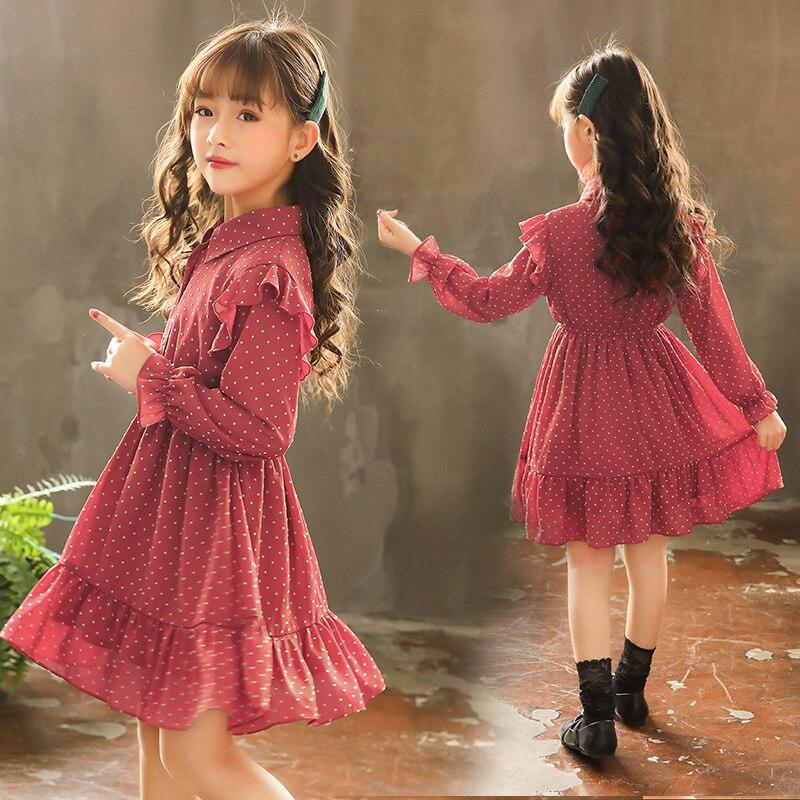Платье для девочек 2019 г. Красное платье принцессы трапециевидной формы с длинными рукавами для девочек платье для маленьких девочек, вечерние платья для свадьбы, для детей 10, 12, 14 лет