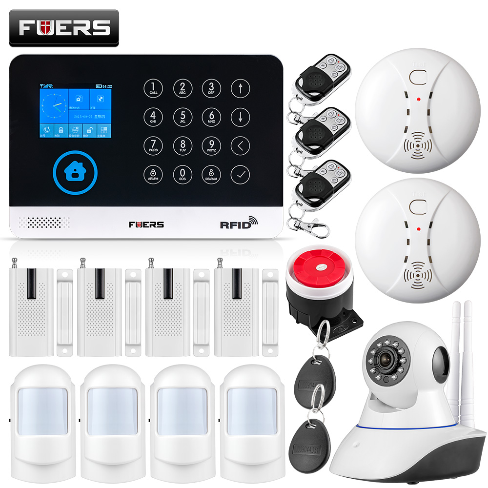 FUERS WG11 WIFI GSM Wireless Home Business Burglar Security Alarm System APP Control Siren RFID Motion Detector PIR Smoke Sensor huawei mate x dobravel